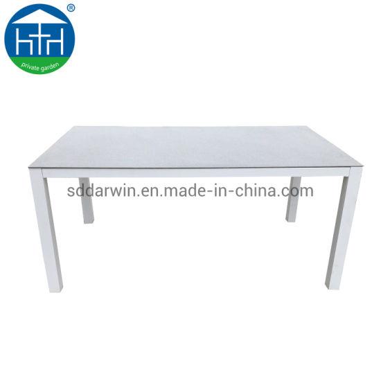 Brushed Aluminum Frame Outdoor Garden Modern Polywood Furniture Dining Table Set