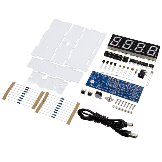 DIY Kit LED Electronic Clock Microcontroller Blue Digital Clock Time Thermometer