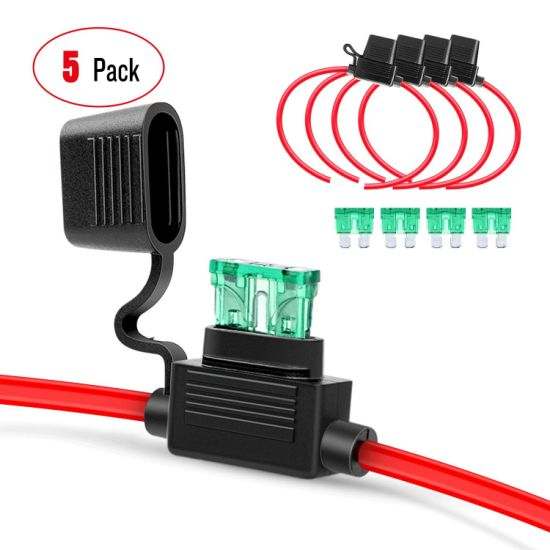 Ga0004 12AWG Inline Wiring Harness 12 Gauge Atc/ATO Automotive Holder with 30A Fuse Blade Standard Plug Socket-5 Pack