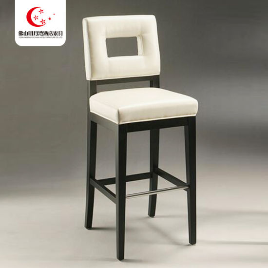 Tufted Back Solid Wooden Counter Armless Fabric Restaurant Cheap High Bar Stool Chair