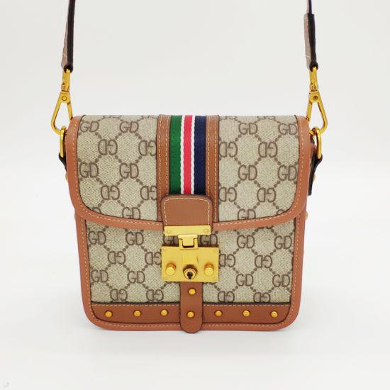 Fashion Designer Lady Bag Pattern PVC and Leather Crossbody Bag