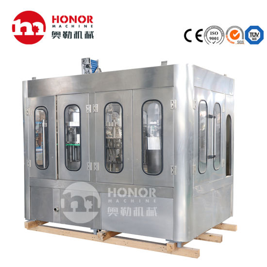 Glass Pet Bottle Aluminium Can Fruit Juice Concentrated Juice Carbonated Drink Mineral Water Beverage Liquid Filling Sealing Labeling Packing/Package Machine