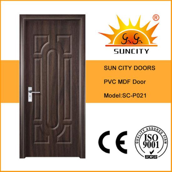 Promotional Interior Wooden Sliding PVC Bedroom Balcony Finished MDF Door