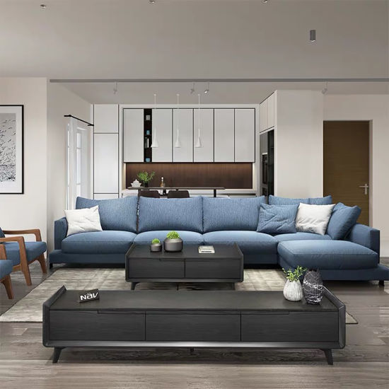 Modern Home Furniture Leisure Fabric Leather Corner Sofa for Living Room
