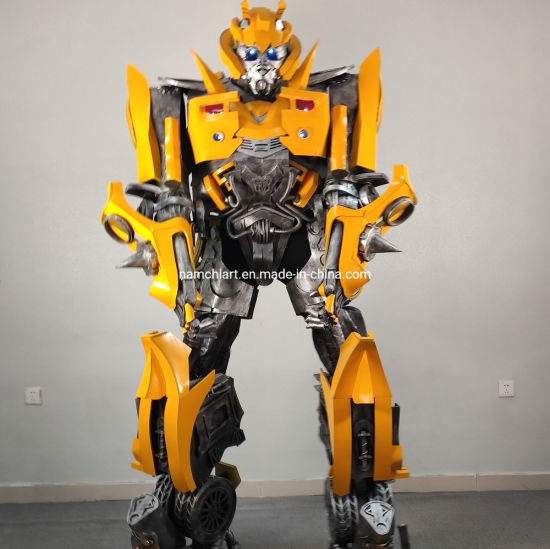 Realistic Large Size 2.7 M Tall Human Wearing Inside Bumble Bee Robot Costume for Kids Party