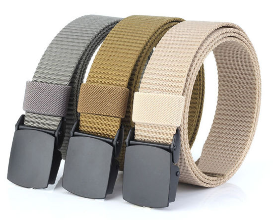 Wholesale Outdoor Mens Automatic Buckle Canvas Belt Fabric Webbing Belts