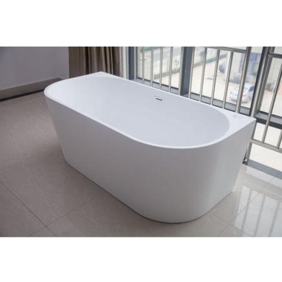 Hotel Bathroom Shower Freestanding Deep Clear Resin Acrylic Bathtub