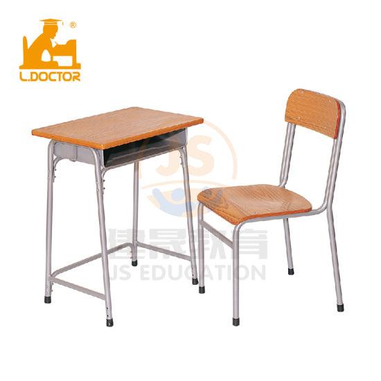 Children School Furniture Single Metal Wooden School Desks