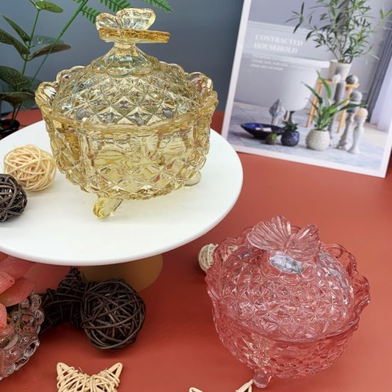 Home Glass Candy Jar Snack Jar European Style Modern Simple Style Home Decoration Decorations Candy Jar Candy Cup Round with a Cover of Dried Fruit Jar