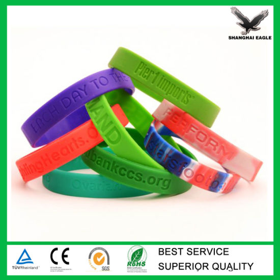 Cheap Custom Debossed/Embssed/Print Silicone Wristband Bracelet pictures & photos