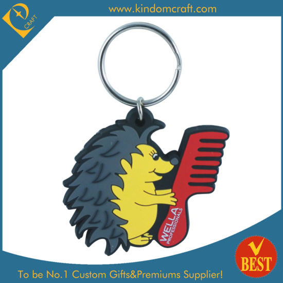 Cartoon Style Hedge Pig Shape Wholesale High Quality PVC Key Ring at Factory Price