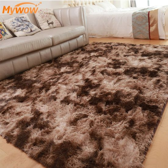 Decorative Usage Hand Knotted Furry Rug Carpet Rubber back Anti-slip Area Rug