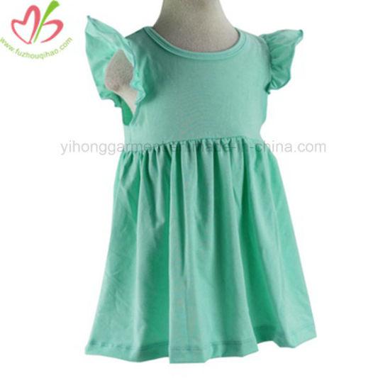 Comfortable Cotton Ruffle Green Dress for Little Girl