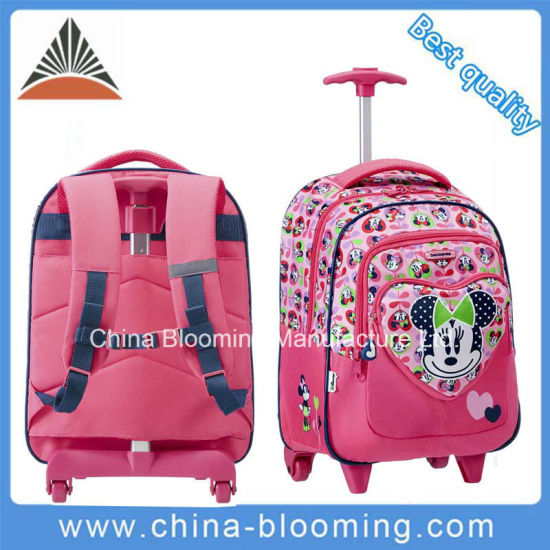 Girl Trolley Roller Wheeled Rolling Backpack Back to School Bag pictures & photos