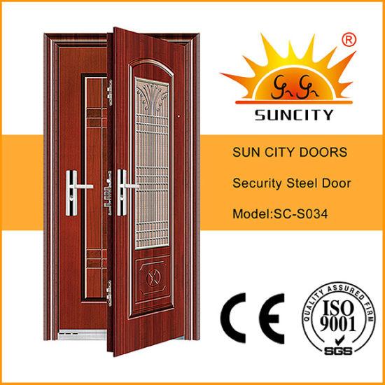 Steel Door Frame Single Door Metal Steel Grill Door Design