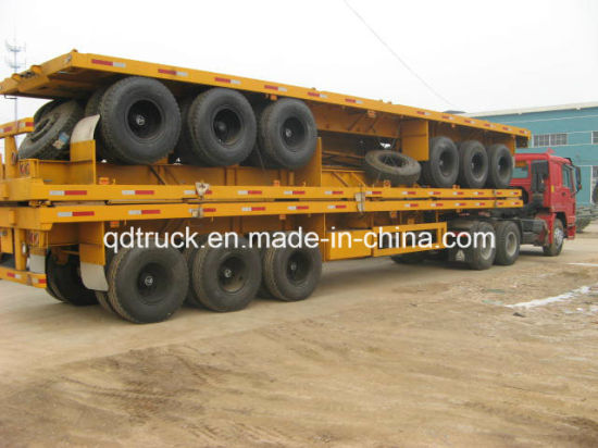 3axel flat bed trailer, 40FT Container Trailer, flatbed trailer pictures & photos
