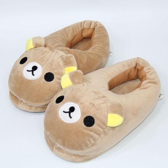 Comfortable Fur Kids Cartoon Winter Warm Indoor Slipper Stuffed Plush Bear Household Slippers