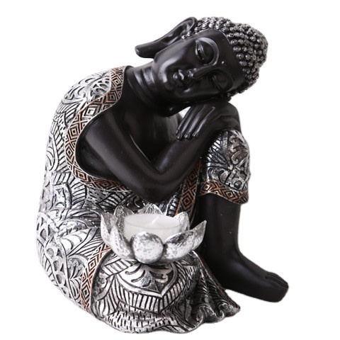 2020 Wholesale Peaceful Meditating Sleeping Sliver Buddhist Sitting Resin Thai Buddha Statue