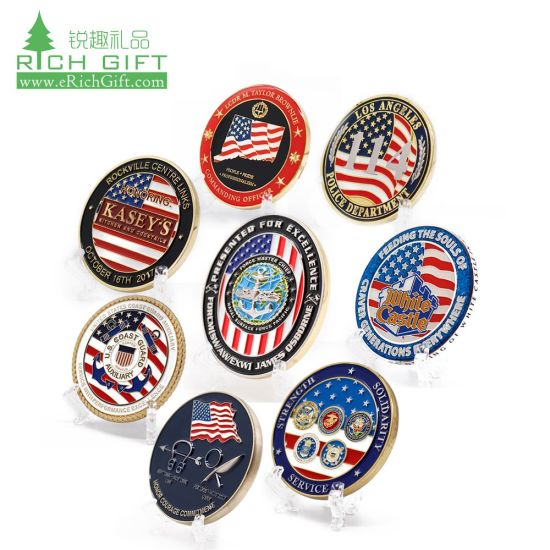 Bulk Cheap Price Brass Custom Logo Sports Enamel Military Army Navy Police Pirate Metal Challenge Coins 3D Commemorative Chip Coin No Minimum Silver for Sale