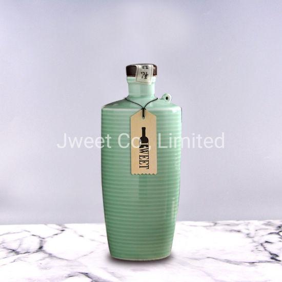 Manufactory Round Screen Printing 750ml Sake Wine Ceramic Bottle
