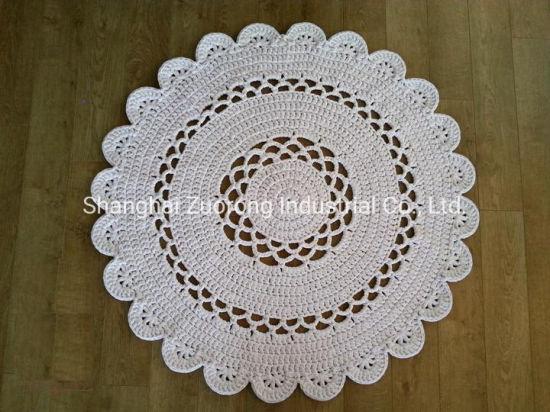 Source Factory Wholesale Hand Crochet Carpet, Knitted Floor Rugs, Knit Jute Circle Rug, Nautical Sailor Mat, Hemp Doormat Crochet Carpet