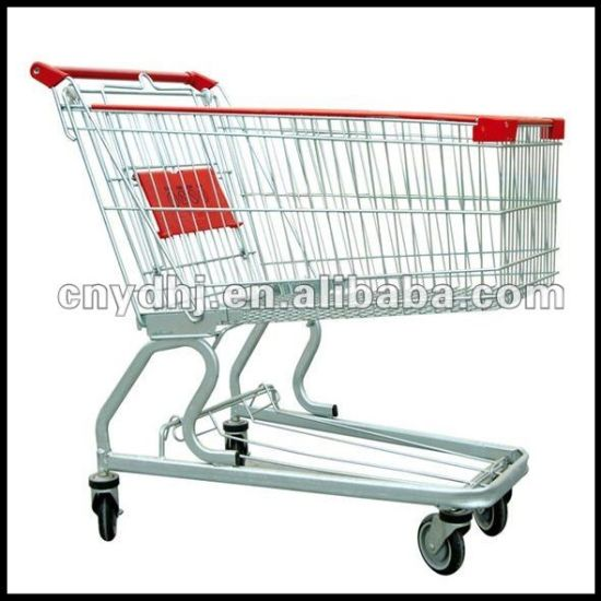 Classic American Style Supermarket Shopping Cart with Flat Pipe