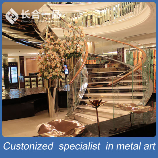 Customized Factory Manufacture Stainless Steel with Glass Staircase Handrail