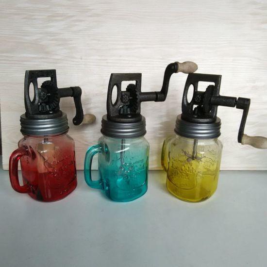 Hot Sell Painting 16oz Glass Mason Jar Kitchen Manual Vintage Butter Churn  Hand Machine Mixer Home Diary