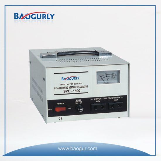 Single Phase Meter display SVC-1500va Servo Motor Voltage Regulator