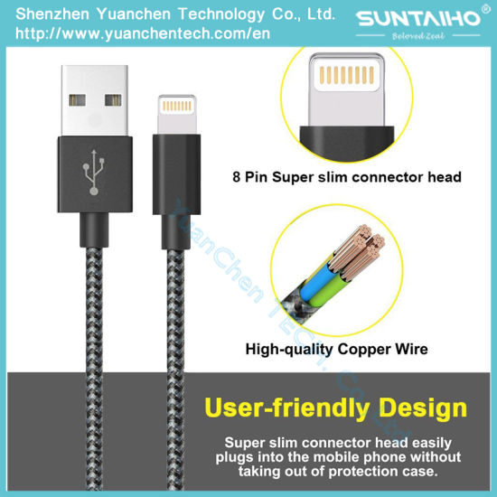 Fabric Braided Nylon Design USB Lightning Fast Charger Cable for Iphon5/6/7 pictures & photos
