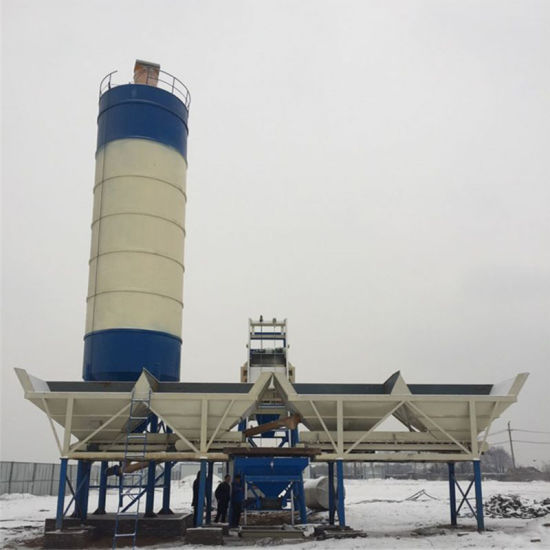 Detong Hzs50 Hopper Concrete Batching Plant with Vibrating Mixing Machine