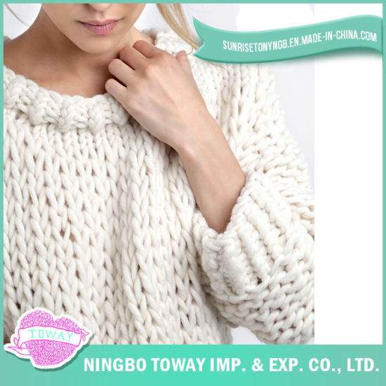 Women Fashion Wool Pullover Chunky Knitted White Sweater