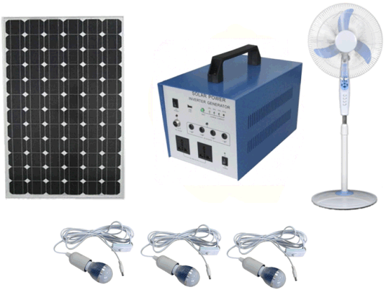 50W AC DC Solar PV Panel Energy Home LED Lighting Kits Portable UPS Power Suppy System pictures & photos