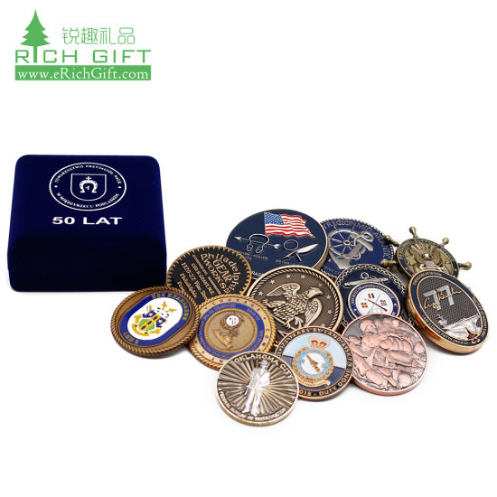 Made in China Blanks Metal Red Cross Wedding Trump Soccer Souvenir Rcmp Coin Keychain 3D Enamel Security Trading Navy Chief Military Challenge Coins with Box