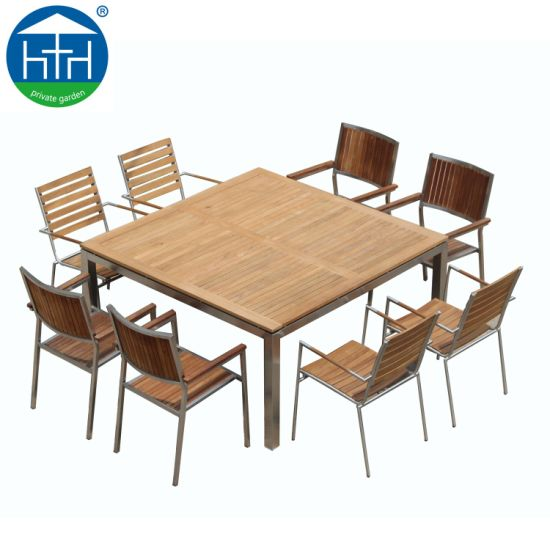 China Outdoor Import Teak Wood Dining Table And Chair Set China Restaurant Teakwood Table Commercial Dining Set