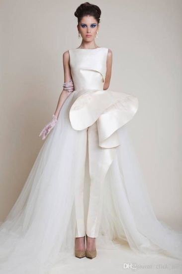China Zuhairmurad Bridal Ball Gown Tulle Satin Pants Wedding Dresses