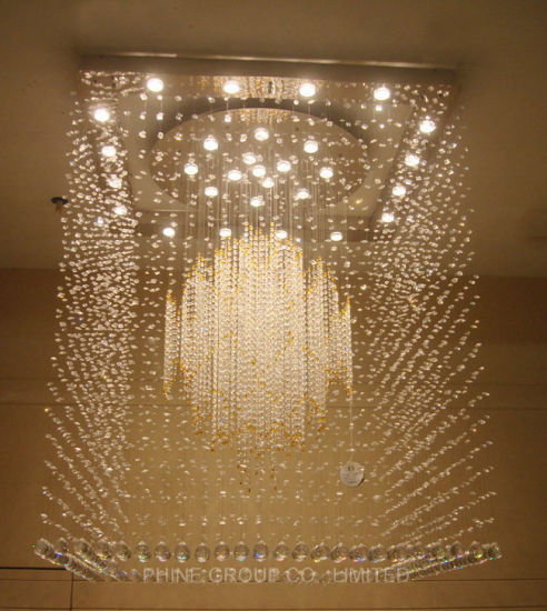Hotel Project Square Luxury Crystal Ceiling Lamp with CCC, UL pictures & photos