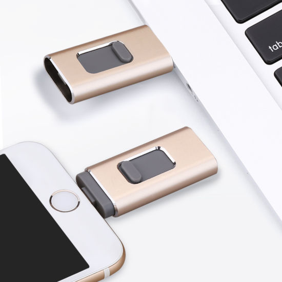 Wholesale Metal Pen Drive 3 in 1 OTG iPhone USB Flash Drive for Ios PC Android Devices