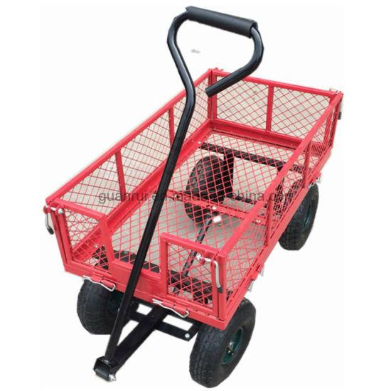 Heavy Duty Garden Dump Cart Dumper Wagon Carrier Utility Wheelbarrow