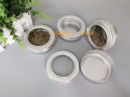 100g Aluminum Tea Tin Can with Pet Window Screw Lid (PPC-ATC-100)