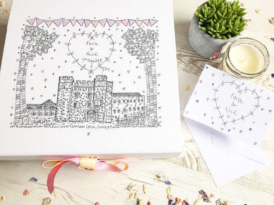 Wedding Memory Box Wedding Box Illustrated By Hand Personalised Wedding Keepsake Gift Wedding Venue Illustration Bespoke