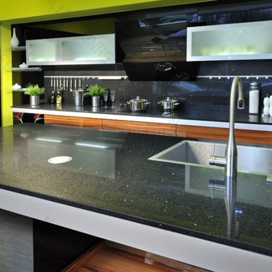 Great Black Acrylic Resin Quartz Sparkle Stone Countertop