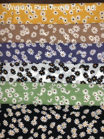 2020 Best Sell Print Little Daisy Polyester Viscose Silk Crepe Fabric Digital Print