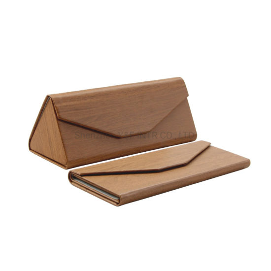 Promotional Folding Triangle Best Wooden Pattern Leather Glasses Case Magnetic PU Custom Sunglass Case