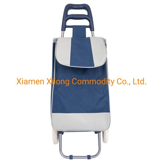 Oxford Sky Blue Grocery Shopping Cart Folding Trolley Supermarket Two Wheels Shopping Bag Multifunctional Portable Fold up Shopping Cart