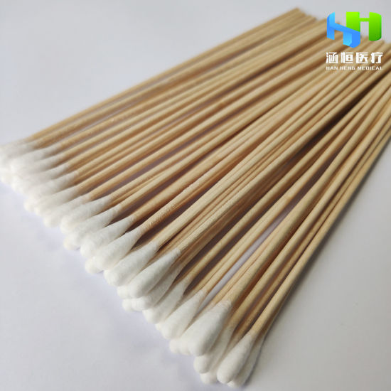 High Quality Medical Absorbent Cotton Swab with Wood Stick CE ISO Approved