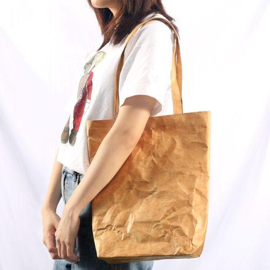 Wholesale Medium Large Waterproof White Paper Tyvek Zipper Tote Bag for Shopping