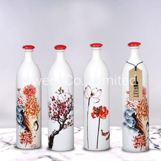 Elegant High Round White Ceramic Sake Bottle with Red Cork