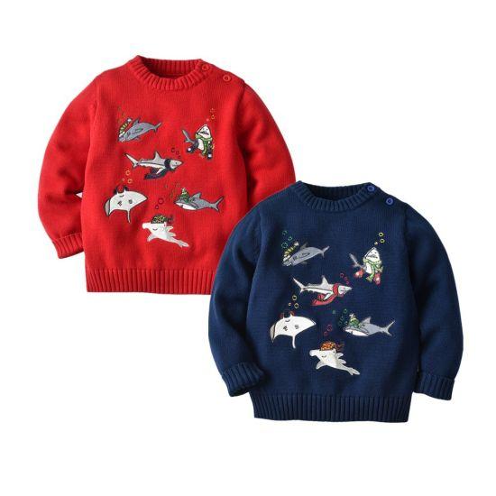 Boys Undersea Series Sweater Shark Pattern Pullover Knitwear