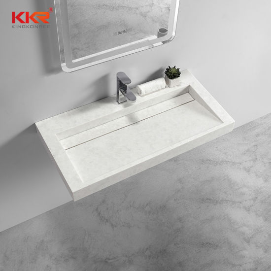 China Solid Surface Top Double Basin Bathroom Vanity China Bathroom Toilet Sink Artificial Stone Sink